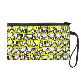 Grinning Funny Yellow Smiley Face Pattern Wristlet Clutches
