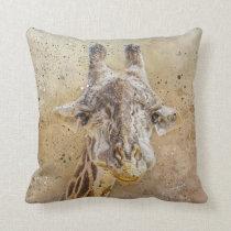 Grinning Giraffe Photography Modern Watercolor Throw Pillow