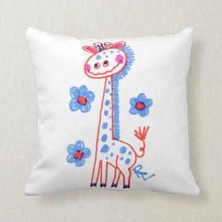 Grinning Giraffe (White) Throw Pillow