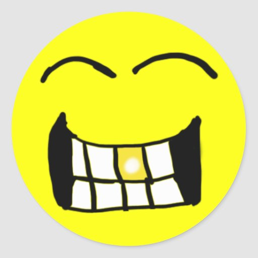 Grinning Gold Tooth Smiley  Sticker