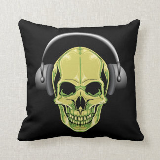 Grinning Green Skull With Headphones Throw Pillow