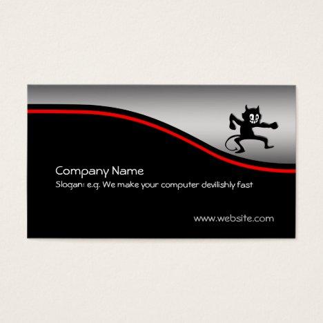 Grinning Gremlin Imp, red swoosh, metallic-look Business Card