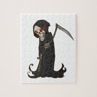Grinning Grim Reaper with Red Eyes Holding Scythe Puzzle