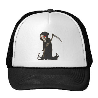 Grinning Grim Reaper with Red Eyes Holding Scythe Trucker Hat