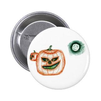 Grinning Halloween Pumpkin Button