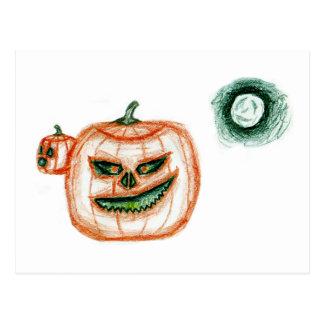 Grinning Halloween Pumpkin Postcard