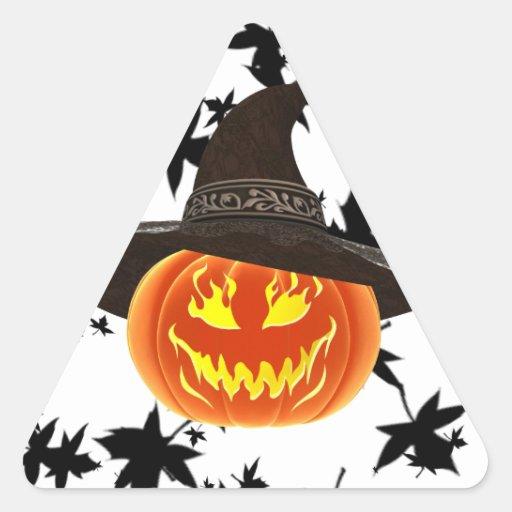 Grinning Halloween Pumpkin Triangle Sticker