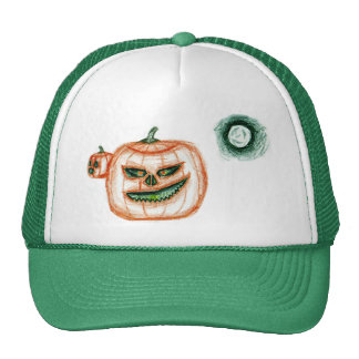 Grinning Halloween Pumpkin Trucker Hat