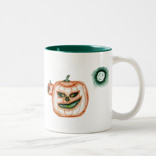 Grinning Halloween Pumpkin Two-Tone Coffee Mug
