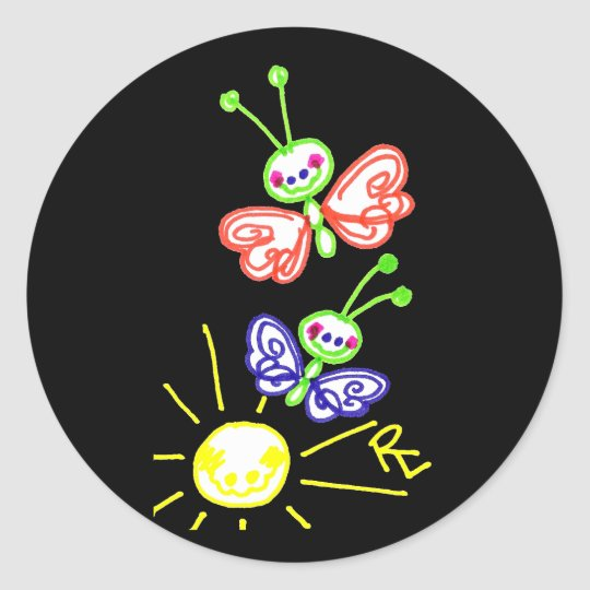 Grinning Happy Butterflies Black Background Classic Round Sticker
