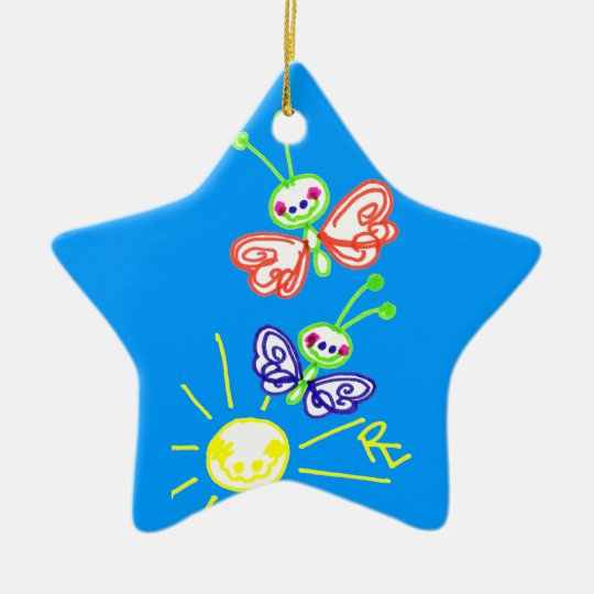 Grinning Happy Butterflies Ceramic Ornament