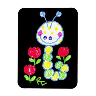 Grinning Happy Caterpillar Black Background Rectangular Magnet