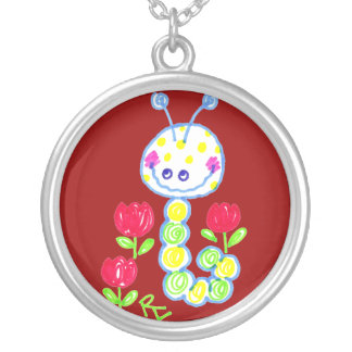 Grinning Happy Caterpillar Deep Red Background Round Pendant Necklace