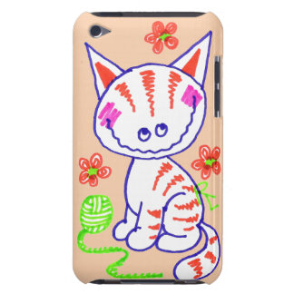 Grinning Happy Kitty Cat Peach Background Barely There iPod Cover