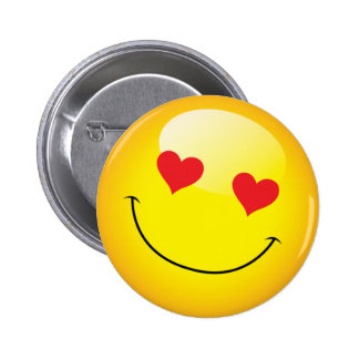 Grinning Happy Love Heart Emoji Man Face Party Pinback Button