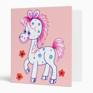 Grinning Happy Pony Pink Background Binders