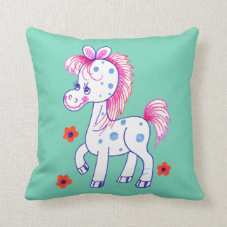 Grinning Happy Pony Turquoise Background Throw Pillow