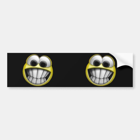 Grinning Happy Smiley Face 2-in-1 Bumper Sticker