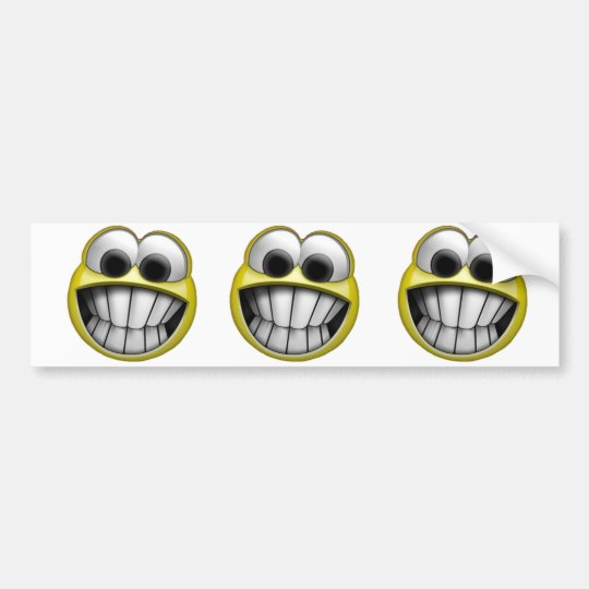 Grinning Happy Smiley Face 3-in-1 Bumper Sticker