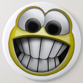 Grinning Happy Smiley Face Button