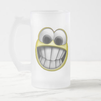 Grinning Happy Smiley Face Frosted Glass Beer Mug