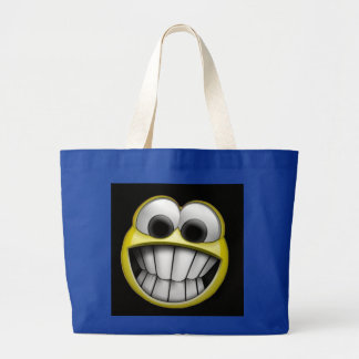 Grinning Happy Smiley Face Large Tote Bag