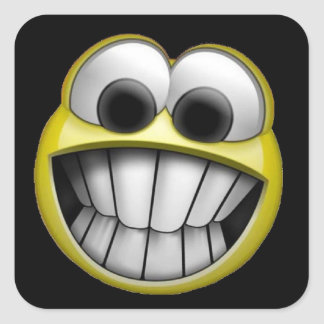 Grinning Happy Smiley Face Square Sticker