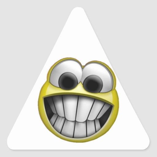Grinning Happy Smiley Face Triangle Sticker