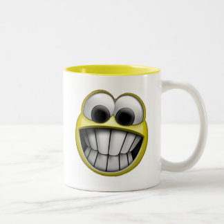 Grinning Happy Smiley Face Two-Tone Coffee Mug