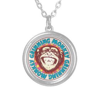 Grinning Monkey Round Pendant Necklace