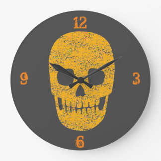 Grinning Orange Skull - Halloween Wall Clock