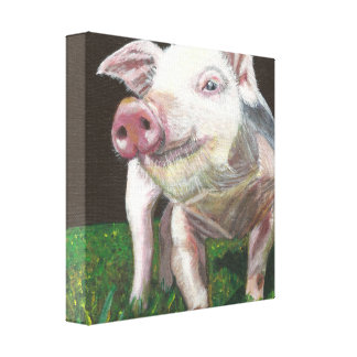 Grinning Pig Gallery Wrapped Canvas