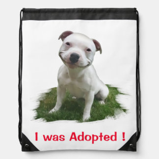 Grinning Pitbull I was Adopted Drawstring Backpack