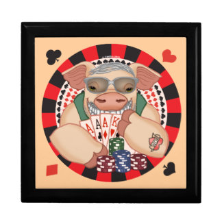 Grinning Poker Pig custom name gift box