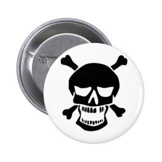 Grinning Skull & Bones Pinback Button