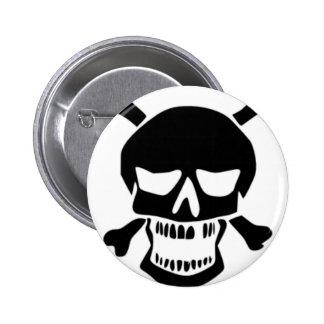 Grinning Skull & Bones Button