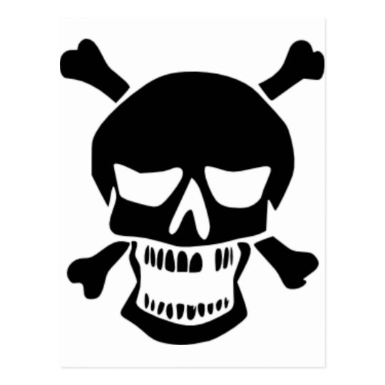 Grinning Skull & Bones Postcard