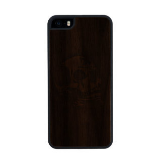 Grinning Skull Carved in Faux Leather on Wood Case