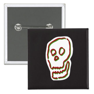 Grinning Skull Square Button