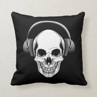 Grinning Skull With Headphones Throw Pillow