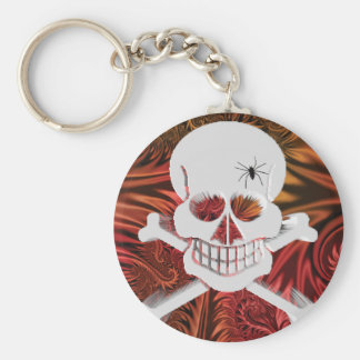 Grinning Skull with Spider Key Chains