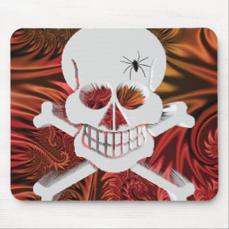 Grinning Skull with Spider Mouse Pad