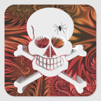 Grinning Skull with Spider Square Sticker