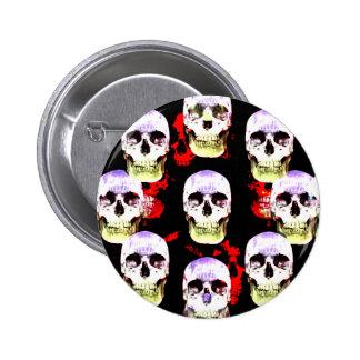 Grinning skulls gothic button