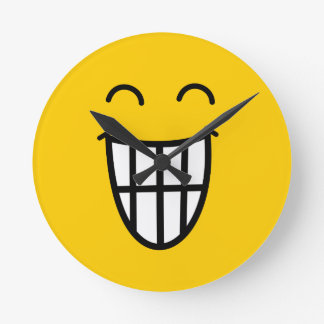 Grinning Smiley Face Wall Clock