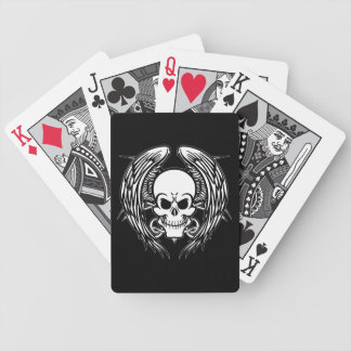 Grinning Tattoo Skull and Wings with Tribal Bicycle Playing Cards