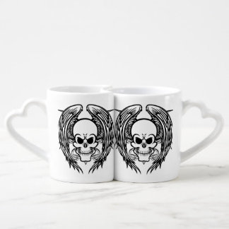 Grinning Tattoo Skull and Wings with Tribal Coffee Mug Set