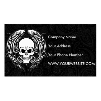 Grinning Tattoo Skull and Wings with Tribal Double-Sided Standard Business Cards (Pack Of 100)