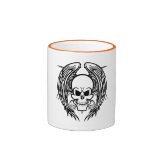 Grinning Tattoo Skull and Wings with Tribal Ringer Mug