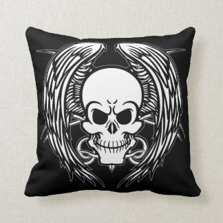 Grinning Tattoo Skull and Wings with Tribal Throw Pillow